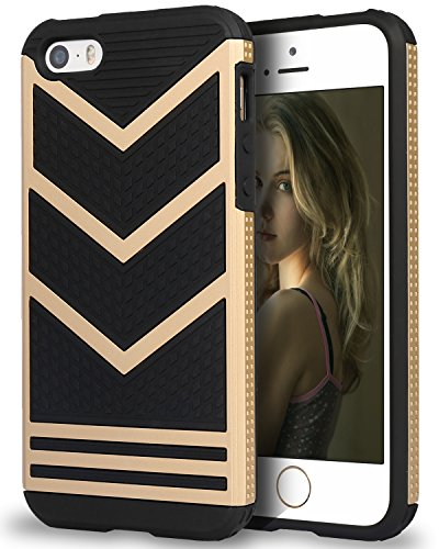 iPhone SE Case, Pasonomi® iPhone SE Bumper Cover, Anti-slip [Shock Absorbing] Flexible Protective Shell Slim Defender Shield Carrying Case for Apple iPhone SE / 5 / 5s (Black/Gold) (Iphone 5s Protective Black Case compare prices)