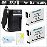 2 Pack Battery And Charger Kit For Samsung WB750, WB150F, EX2, EX2F, WB350F, WB1100F, WB2100, WB800F, WB250F Digital Camera Includes 2 Replacement (1000Mah) SLB-10A Batteries + Ac/Dc Charger + More