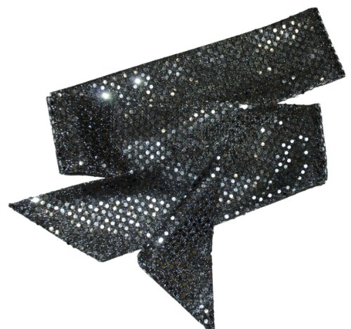 Black and Silver Sequin Sash Belt / Hair tie / Scarf