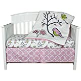 Birds & Flowers 3 Piece Coral and Lavender Crib Bedding Set by Kidsline