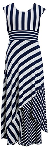 Navy-Blue Geometric Stripe High Low Maxi Dress Nv4Mu, Navy, Tg16 Bonnie Jean Tween Girls 7-16 Special Occasion, Flower Girl Social Party Dress front-959545