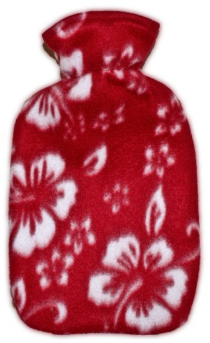 Warm Tradition Red Orchid Fleece Covered Hot Water Bottle -Bottle Made In Germany, Cover Made In Usa
