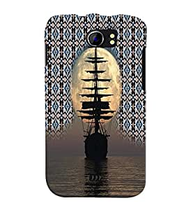 PrintVisa Travel Ship Sunset 3D Hard Polycarbonate Designer Back Case Cover for Micromax Canvas 2 A110 A110Q