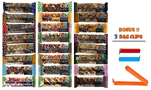 Kind Bar Variety Pack, 24 Pack Sampler, 24 Different Flavors, 1.4 Oz Bars (Bonus!! 3 Bag Seal Clips Free) (Kind Bars Yogurt And Apricot compare prices)
