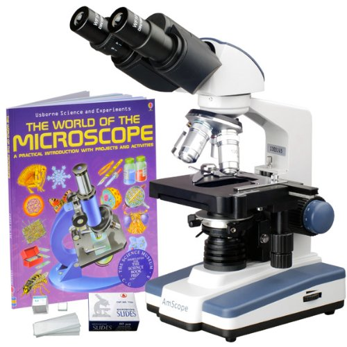 Amscope B120B-Wm-Bs Siedentopf Binocular Compound Microscope, 40X-2000X Magnification, Brightfield, Led Illumination, Abbe Condenser, Double-Layer Mechanical Stage, Includes Book And Blank Slides