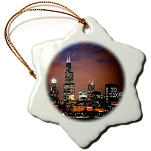 Sandy Mertens Chicago Skyline at Night Snowflake Porcelain Ornament, 3-Inch
