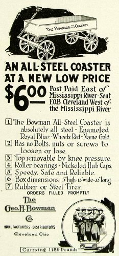 1922-ad-george-h-bowman-all-steel-coaster-childrens-toy-wagon-cleveland-ohio-oh-original-print-ad