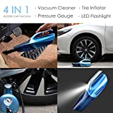 Car Vacuum Cleaner,Tire Inflator,Tire Pressure Gauge & Bright Led Light,HOTOR 4 in 1 Powerful Wet/Dry 12V 100W Vacuum for Car(Blue)