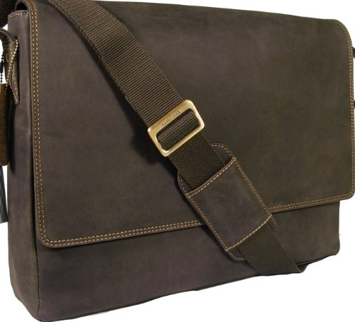 New Visconti brown leather laptop briefcase messenger bag 18516