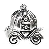 Queenberry Sterling Silver Fairytale Pumpkin Coach European-style Bead Charm
