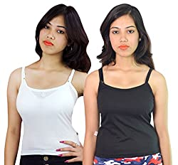 Vimal Black & White Cotton Camisole For Women (Pack Of 2)