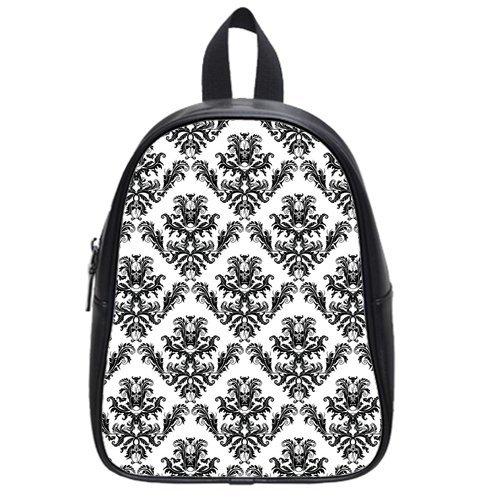 Atnee Unique Skull Damasks Design Black Backpack School Bag Satchel Size M