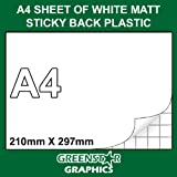 5 SHEET PACK - A4 SIZE WHITE MATT FABLON TYPE STICKY BACK PLASTIC SELF ADHESIVE VINYL