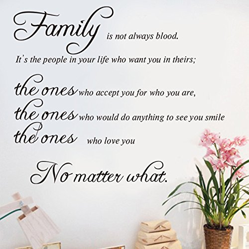 Family is Not Always Blood Wall Art Sticker Vinyl Family Wall Decal Art Mural Quote Lettering Living Room Decors -A