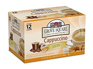 Grove Square Cappuccino, Caramel, 12-Count Single Serve Cup for Keurig K-Cup Brewers (Pack of 3)