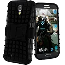 Avizar - Coque Antichocs Samsung Galaxy S4 I9500, I9505 et S4 Advance - Housse Silicone Gel Quadro Support intégré - Noir