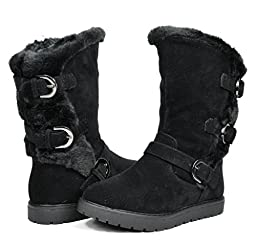Dream Pairs KOREL Girls Winter Buckles Zipper Closure Fully Fur Lining Kids Snow Boots Black Size 10