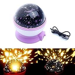 WONFAST® Romantic Fairy Starry Sky Ceiling Moon Star 360°Rotating Night Light Laser Projector Lamp for Christmas Kids Bedroom (Purple)