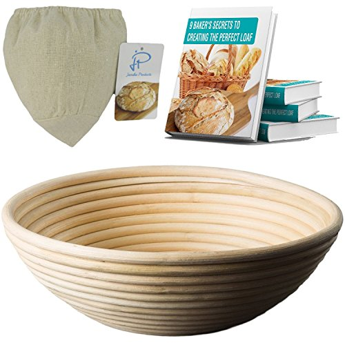 Banneton Bread Proofing Basket - 8.5-Inch Round Brotform Bowl for Baking Dough with Bonus Linen Cover and Ebook by Jamika Products (Ceramic Bread Bowl compare prices)