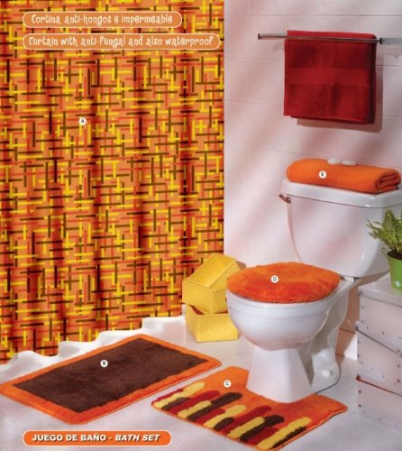 Orange brown yellow curtain mat rug bath set 6 pcs for Yellow and brown bathroom decor
