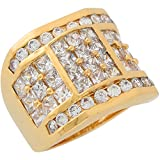 10k Yellow Gold White CZ Unique Square Design Modern Mens Wide Band Ring