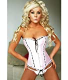Satin Style Pink & Black Fashion Steel Boned Corset With Lace