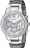 GUESS Women's U0141L1 Dazzling Silver-Tone Sporty Crystal Chronograph Watch