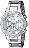 GUESS Silver-Tone Crystal Sport Chronograph Watch U0141L1