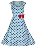 Lindy Bop 'Leda'Schwan-Aufdruck, Vintage, 1950 er-Stil, Kleid