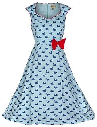 Lindy Bop 'Leda' Swan Imprimer Vintage 1950 Style Robe (36, Bleu)