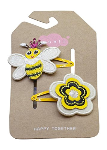 Grazie Little Girl'S Queen Bee Snap Clips One Size Yellow front-518041