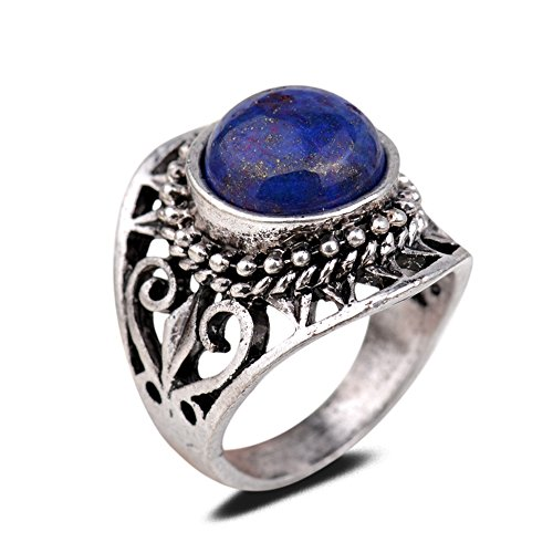 Yazilind Vintage Antique Round Cut Blue Lapis Lazuli Retro Silver Plated Heart Hollow