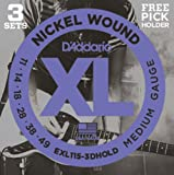 D'Addario EXL115-3D Medium/Blues-Jazz Rock 11-49 Nickel Wound Electric Guitar Strings with Free Pick Holder (Pack of 3)
