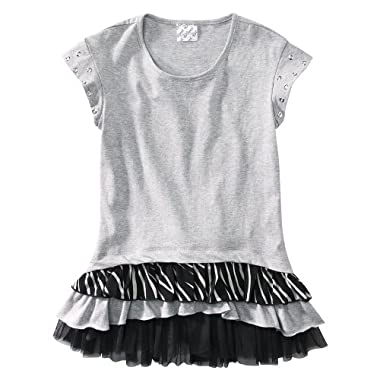 Product Image DSigned Shake It Up Girls' Short-Sleeve Ruffle Tunic - Black