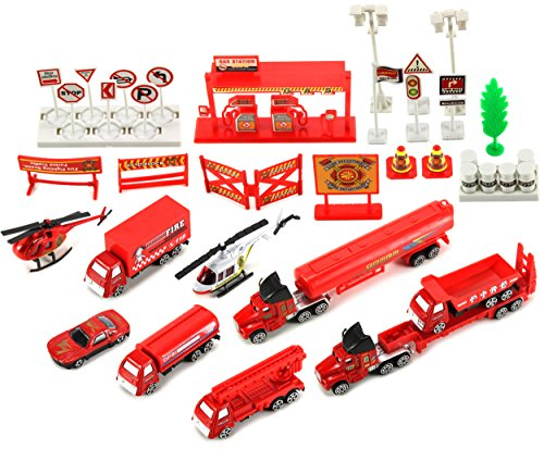Emergency Fire Department Rescue 40 Piece Mini Diecast Toy Vehicle Playset w/ Variety of Vehicles, Accessories