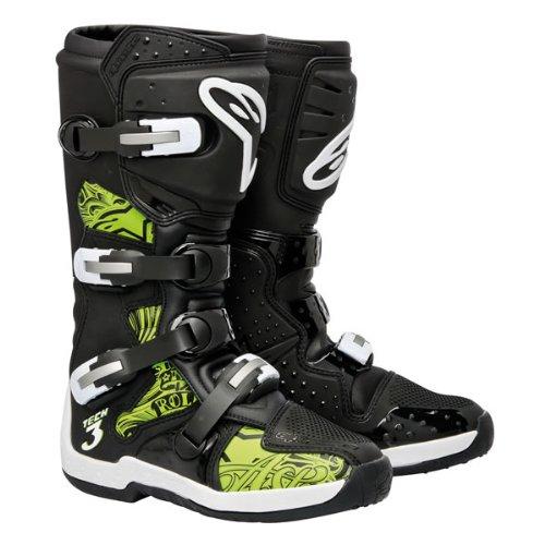 Alpinestars-Tech-3-Chrome-Boots-Black-Green-Motocross-Size-13-3410-0861