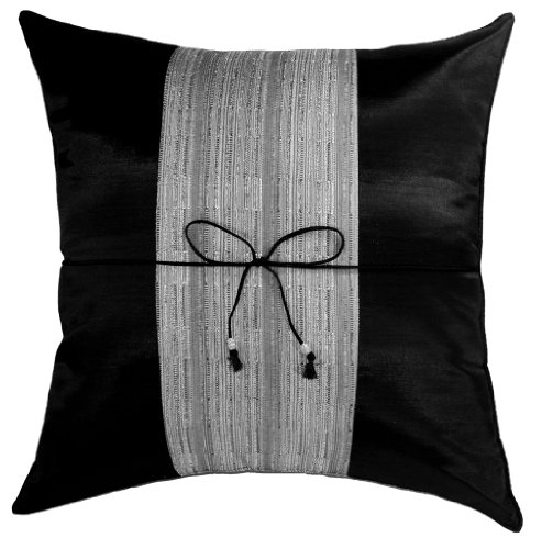 Cheapest Prices! Artiwa Black & Gray Stripe 16x16 Decorative Silk Throw Pillow Cover for Couch and...