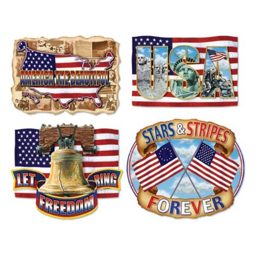 Beistle 50231 4-Pack American Pride Cutouts, 16-Inch