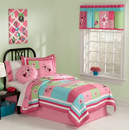 Pink & Aqua Ladybug Girls Cotton Twin Quilt, Sham & Sheets (5 Piece Bedding Set)