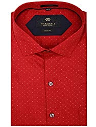 Warewell Men's Slim Fit Pure Cotton Red Shirt