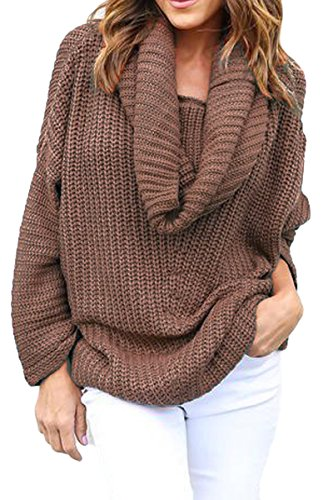 Mulisky Women Casual Cowl Neck Long Sleeve Knitted Pullover Plus Size Sweater (Cowl Sweater Plus Size compare prices)