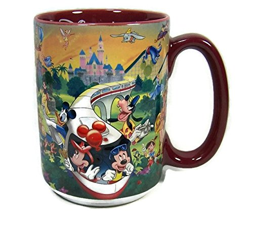 Disneyland Resort Coffee Mug With Many Disney Characters Mickey And Minnie Mouse Riding The Monorail