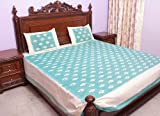 Light-Green Bedspread with Ikat Weave Hand-Woven in Pochampally - Pure Cott ....