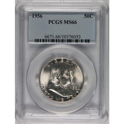 1956 No Mint Mark Franklin Half Dollar PCGS MS66