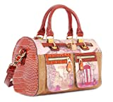Nicole Lee - CLAIRE Europe Retro Print Boston or Shoulder Bag - Brown