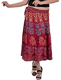 Indi Bargain Rayon Rajasthani Mandala Hand Block Printed Midi Length Wrap Around Skirt (411)