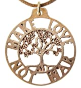 Make Love Not War Tree of Life Peace Bronze Pendant Necklace on Adjustable Natural Fiber Cord
