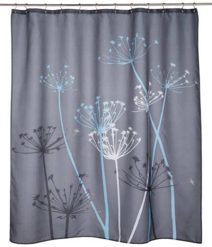 interdesign thistle shower curtain gray and blue 72 inch
