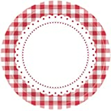 8 Red Gingham Lunch Plates Party Tableware Decorations Birthday Catering Round Summer Spring