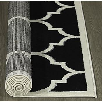 """Ottomanson Paterson Collection Contemporary Moroccan Trellis Design Lattice Area Rug, 710"""" X 910"""", Black"""